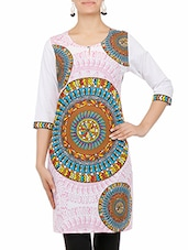 Yellow Printed Quarter Sleeved Cotton Kurti - By