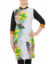 Multicolored Floral Printed Quarter Sleeved Cotton Kurta - By