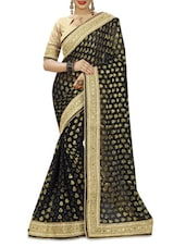 Black Jacquard Viscose Saree With Embroidered Border - By