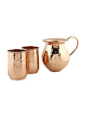 Plain Copper Jug And Set Of 2 Glasses - By