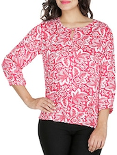 Pink Floral Printed Rayon Top - By