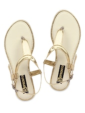 Gold Faux Leather T-strap Sandals - By