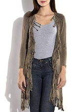Olive Green Viscose Lycra Long Jacket With Fringes - By
