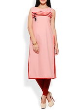 Peach Sleeveless Viscose Kurta - By