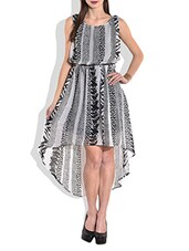Grey And Black Flared Asymmetrical Dress - By