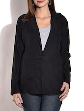 Solid Black Full Sleeved Blazer - By