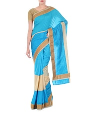 Blue Art Silk And Zari Saree - By
