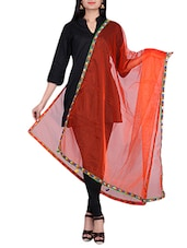 Orange Net Dupatta With Mirror Worked Border - By
