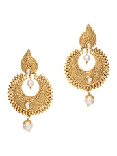 Gold Embellished Drop Earrings - By