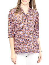 Multi Colored Printed Cotton Top - By
