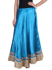 Blue Satin Long Skirt - By
