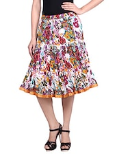 White Floral Printed Cotton Gathered Short Skirt - By