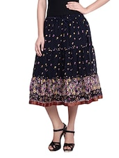 Navy Blue Floral Printed Gathered Skirt - By