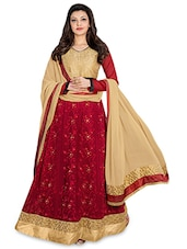 Red Embroidered Semi Stitched Anarkali Suit Set - By