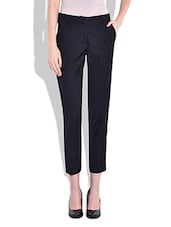 Navy Blue Slim Fit Trousers - By