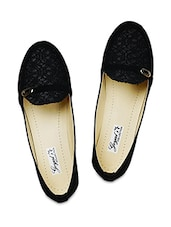 Black textured  faux leather loafers -  online shopping for loafers & mocassins
