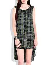 Green Checkered High Low Dress - By