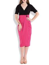 Dual Tone Colour Block Poly Crepe Dress - By