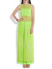 Green Slitted Kalidar Tunic With Palazzo Pants - By