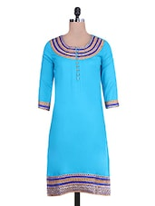 Blue Lace Embroidered Kurta - By