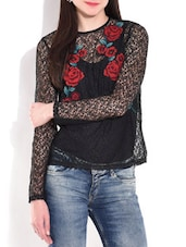 Black And Red Floral Full Sleeve Top - By