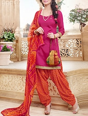 Magenta And Orange Printed Semi Stitched Suit Set - By