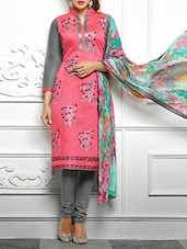 Pink And Grey Cotton Embroidered Semi Stitched Suit Set - By
