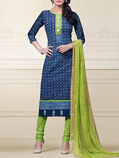 Royal Blue Cotton Embroidered Semi Stitched Suit Set - By