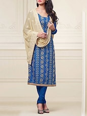 Blue And Beige Cotton Embroidered Semi Stitched Suit Set - By