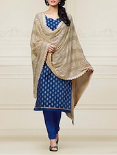Blue Cotton Embroidered Semi Stitched Suit Set - By
