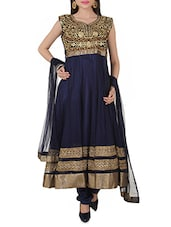 Navy Blue Patch-worked Anarkali Suit Set - By