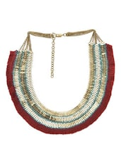 Gold And Maroon Ethnic Tassel Necklace - By