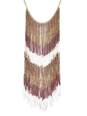 Wine And Gold Beaded Fringe Necklace - By