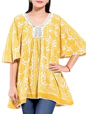 Yellow And White Printed Flared Cotton Top - By