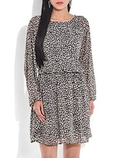 Monochrome Animal Print Knee-length Dress - By