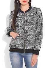 Monochrome Printed Full-sleeved Bomber Jacket - By