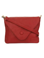 Maroon Faux Leather Sling Bag - By