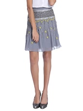 Grey Embroidered And Beaded Georgette Flared Skirt - By