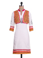 Orange & Beige  Cotton Printed Kurta - By