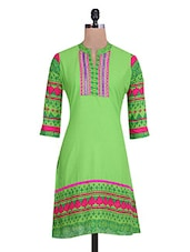 Green  Cotton Printed Kurta - By
