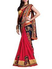 Pink And Blue Embroidered Faux Georgette Saree - By