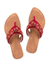 Red Brocade Canvas Slip Ons - By
