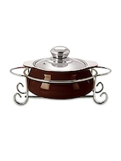 Dark Brown Glass Casserole With Stand- 1000 Ml - By