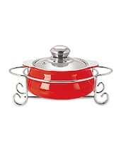 Red Glass Casserole With Stand- 1000 Ml - By