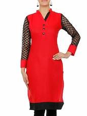 Red Cotton Kurta With Laced Sleeved - By