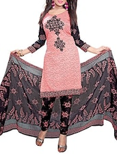 Black And Peach Printed Unstitched Suit Set - By