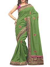 Green Embroidered Bhagalpuri Silk Saree - By