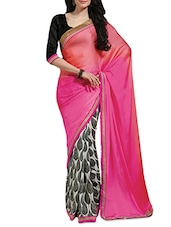 Pink And Black Printed Silk Saree - By