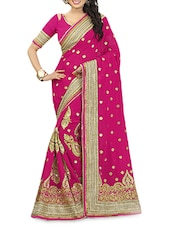 Pink Heavy Georgette  Embroidered Sari With Blouse Piece - By