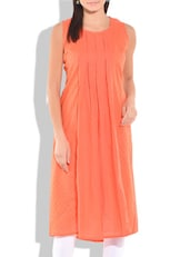 Peach Pleated Sleeveless Cotton Kurta - By